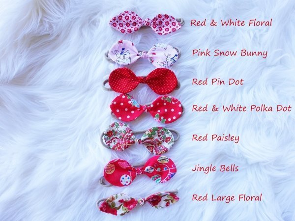 Assorted Fabric Baby Bow Christmas Style Headbands