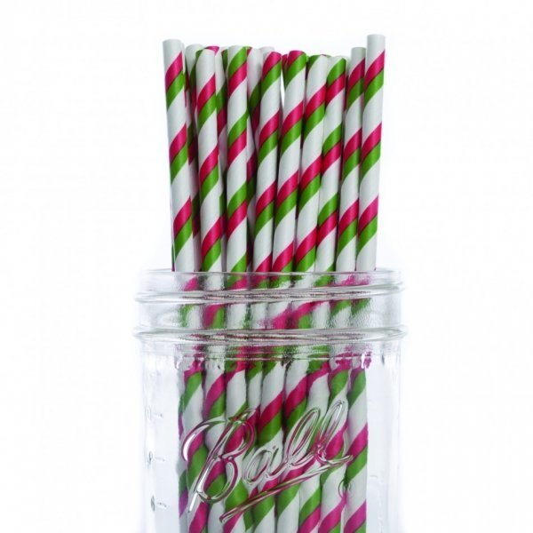 Red & Green Striped Christmas Paper Straws - Pack of 25