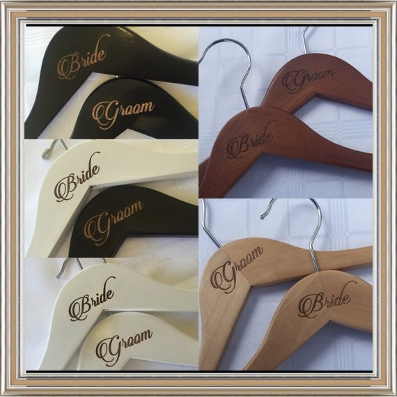 Classical Love Etched Custom Made Wedding Coat Hangers