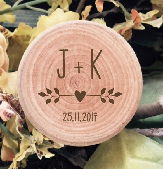 Couples Initials Personalised Wooden Wedding Ring Box