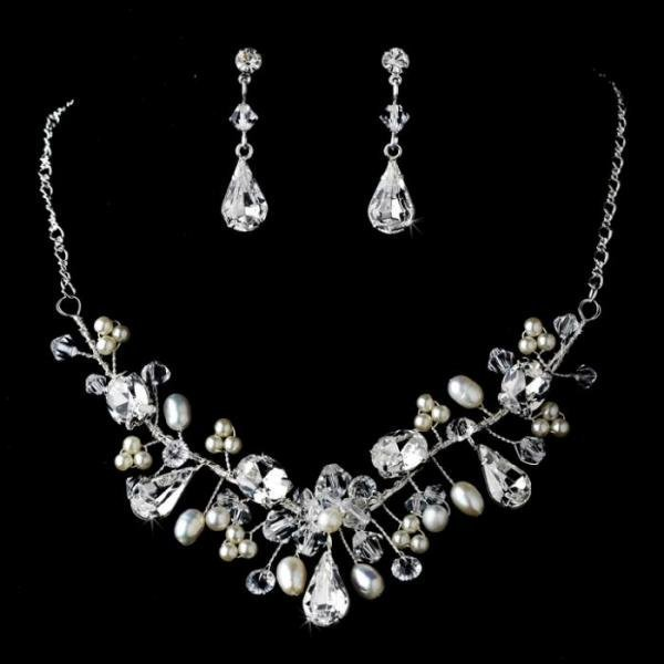 Silver Couture Crystal & Pearl Bridal Jewellery Set