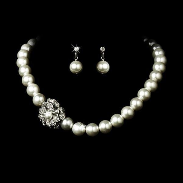 Crystal Cluster Pearl Necklace Set