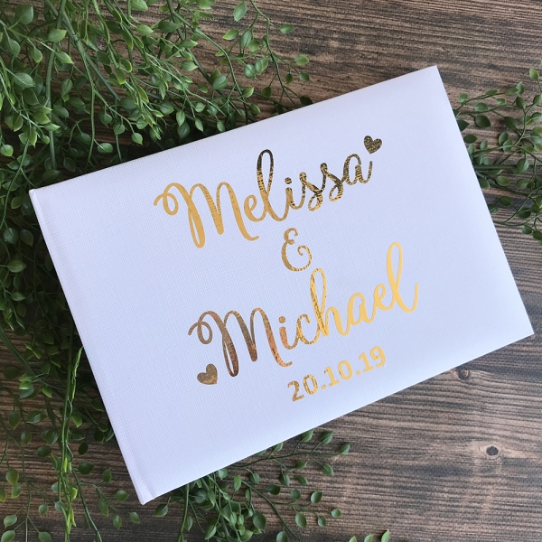 Cute Hearts Personalised Wedding Guest Book