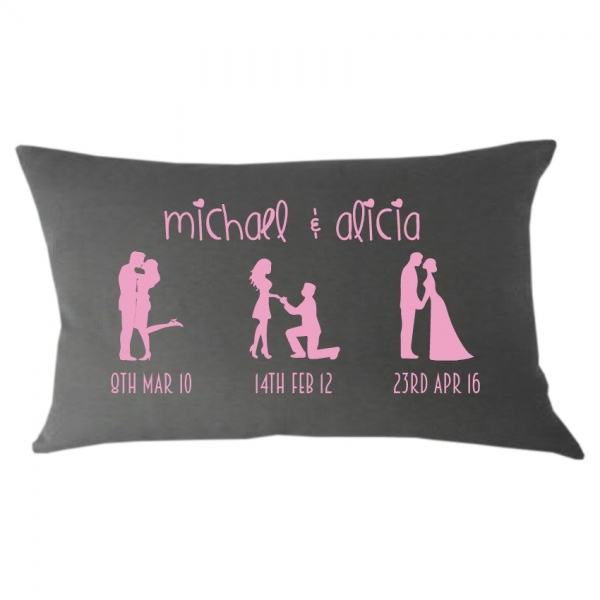 Cute Mr & Mrs Silhouette Timeline Lumbar Cushion