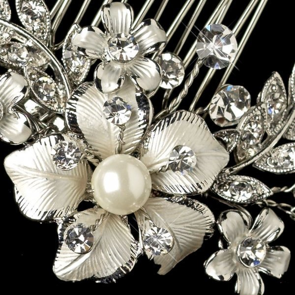 Delicate Silver Plated Petite Flower Bridal Comb