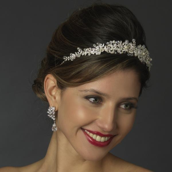 Delicate Sparkling Rose Swirl Wedding Headpiece