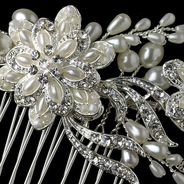 Diamond White Pearl & Rhinestone Floral Vine Bridal Comb
