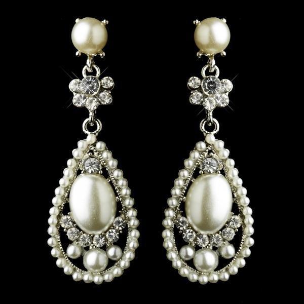 Diamond White Pearl Teardrop Earrings