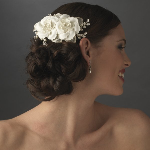 Double Ivory Rose Bridal Hair Comb