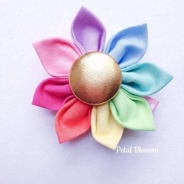 Dreamy Pastel Rainbow Fairy Flower Hair Clip