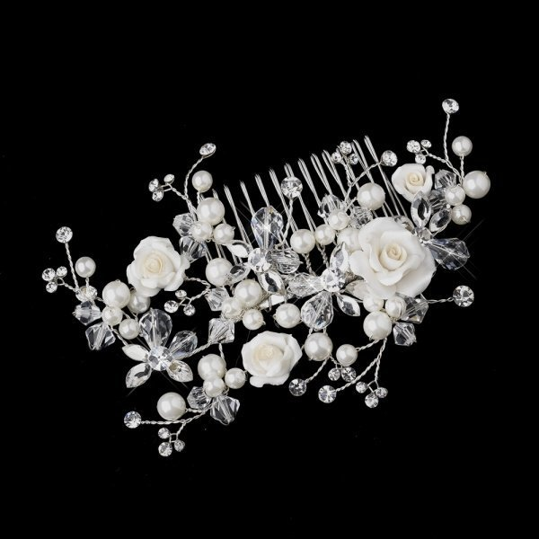 Elegant Ivory Rose Bridal Comb With Crystals & Pearls