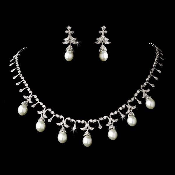 Elegant Silver Crystal & White Pearl Necklace Set