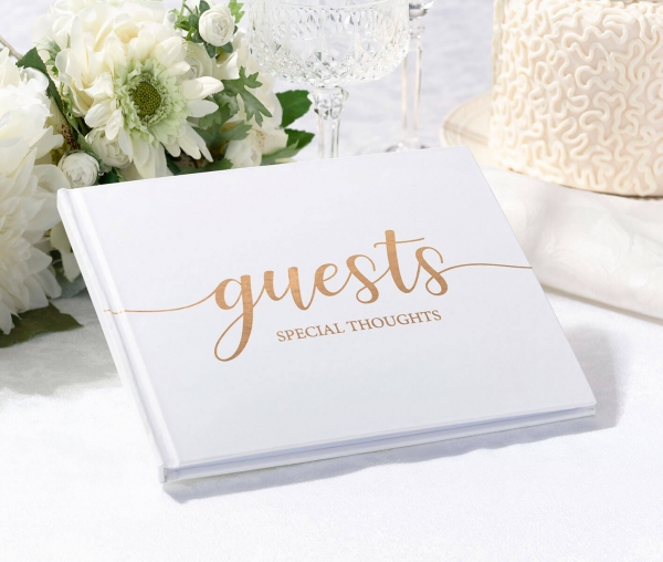Elegant White & Gold Wedding Guest Book Keepsake