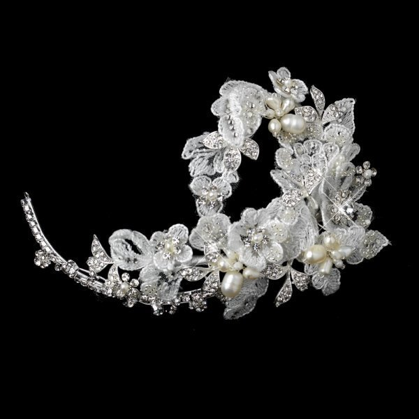 Embellished White Floral Embroidered Fabric Headpiece