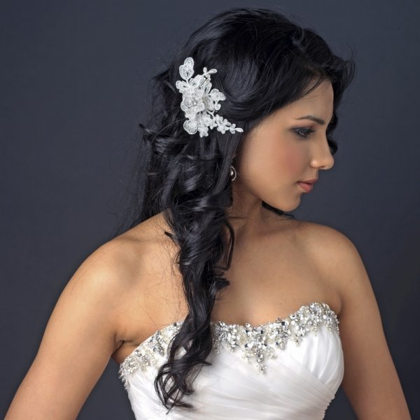 Embroidered Ivory Floral Lace Wedding Hair Clip