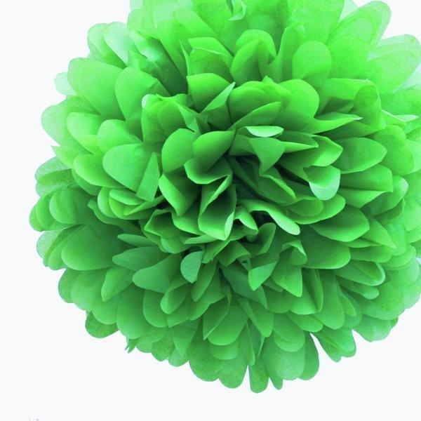 Emerald Green Mini Tissue Paper Pom Poms - Pack of 8