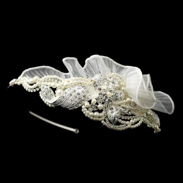 Exquisite Pearl, Rhinestone & Tulle Wedding Headband
