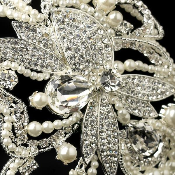 Extravagant Diamond White Pearl Wedding Headpiece