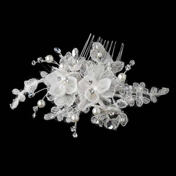 Fabric Flower Bridal Hair Comb With Crystals & Pearls