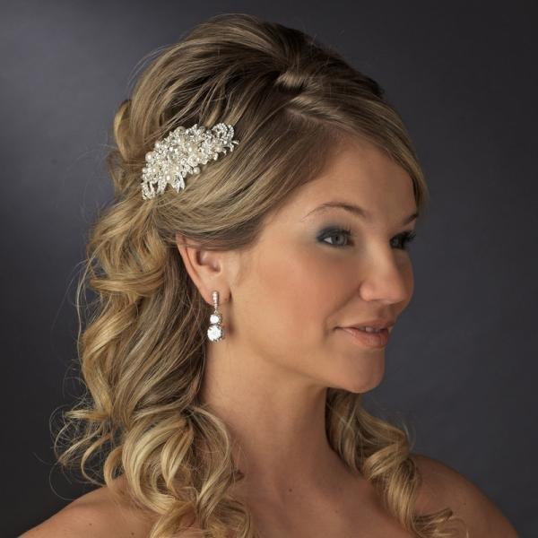 Fabulous Silver Crystal & White Pearl Bridal Comb