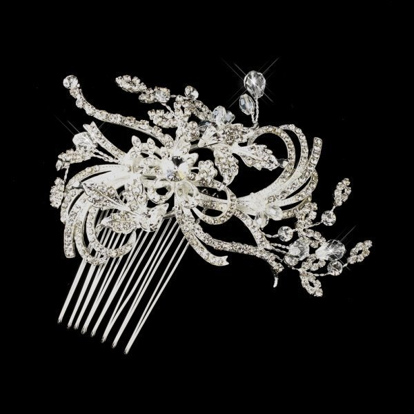 Fanciful Silver Swirling Floral Bridal Comb