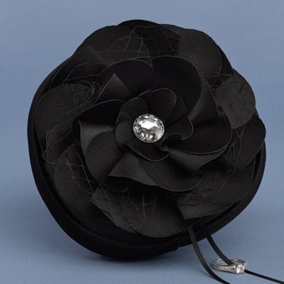 Floral Fantasy Black Petite Ring Pillow