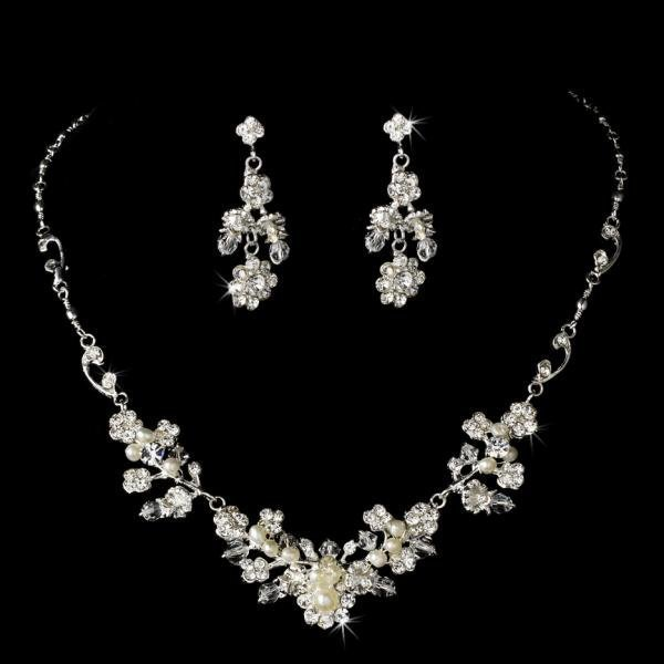 Floral Pearl & Crystal Wedding Jewellery