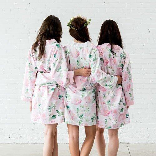 White Floral Watercolour Silky Kimono Robe