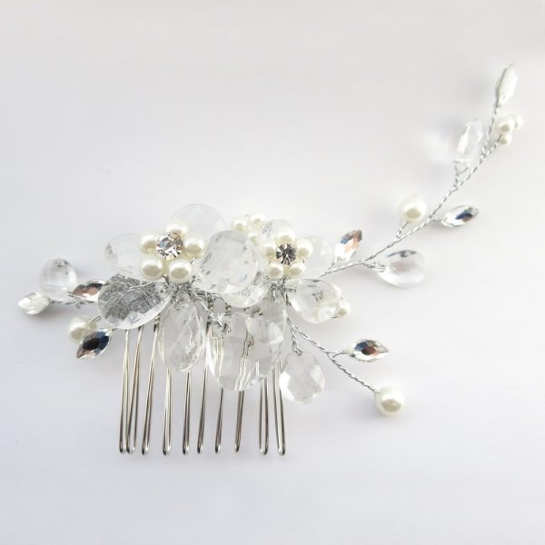 Floral Silver And Ivory Pearl Hair Comb