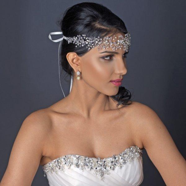 Freshwater Pearl & Swarovski Crystal Beaded Vine Headband