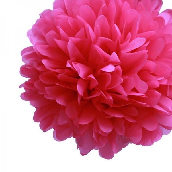 Fuchsia Tissue Pom Poms - Pack of 4