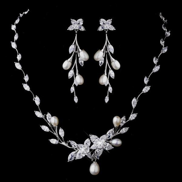 Glittering Crystal & Pearl Vine Necklace Set
