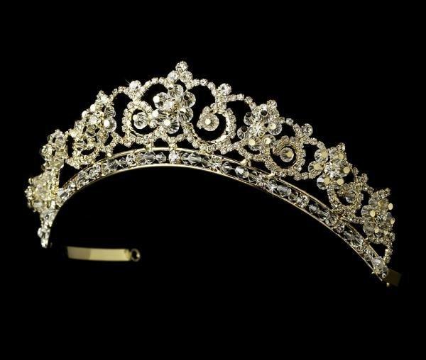 Gold Crystal & Rhinestone Bridal Tiara