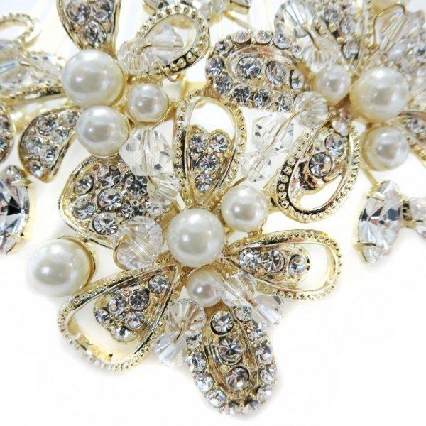 Gold And Ivory Pearl Floral Bridal Comb