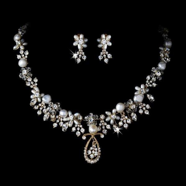 3621bdd67 Gold Pearl & Crystal Bridal Jewellery Necklace Set   Wedding Jewellery    Bridal Accessories   Weddings - How Divine