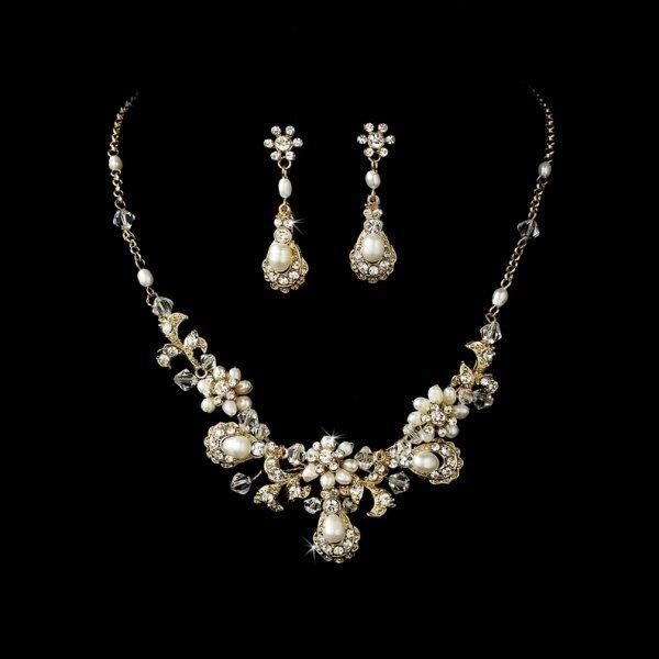 Gold Pearl Vintage Bridal Necklace Set