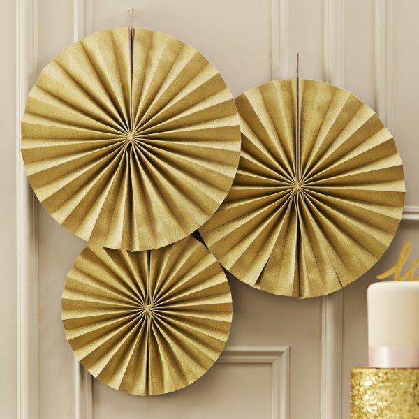 Gold Sparkle Pinwheel Fan Decorations