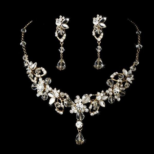Gold Swarovski Bridal Necklace Set