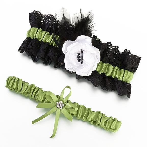 Green & Black Garter Set