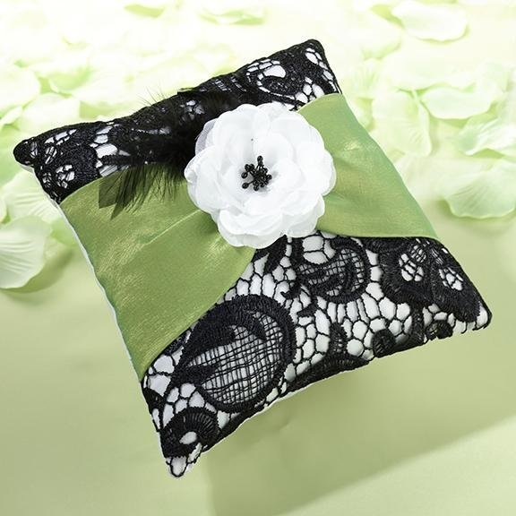 Green & Black Lace Ring Pillow