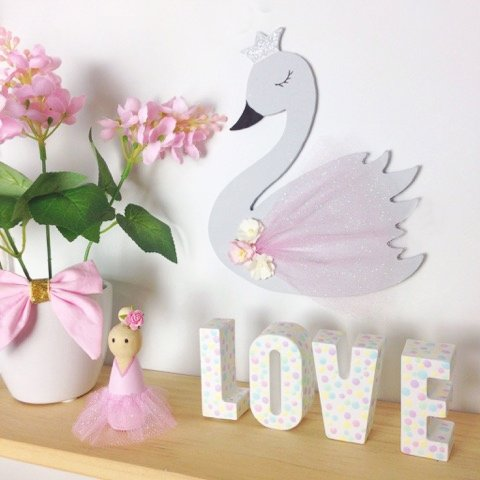 Pastel Wooden Swan Kids Room Wall Decor