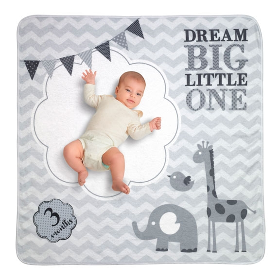 """Dream Big"" Grey Milestone Baby Photo Blanket"