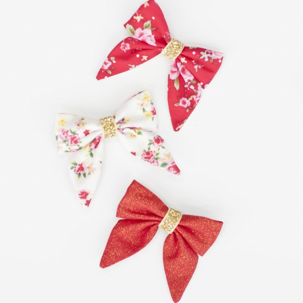 Red, Green, White Floral Girls Christmas Bow Headbands or Clips