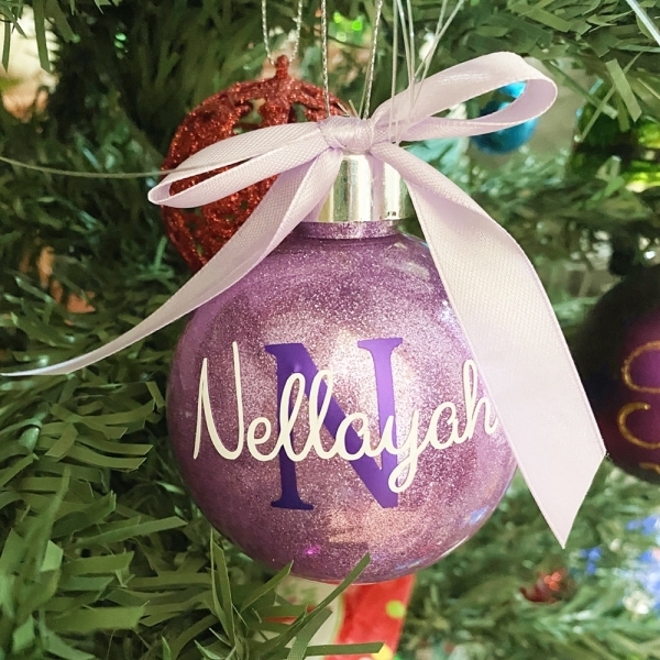 Personalised Christmas Bauble with Name & Initial