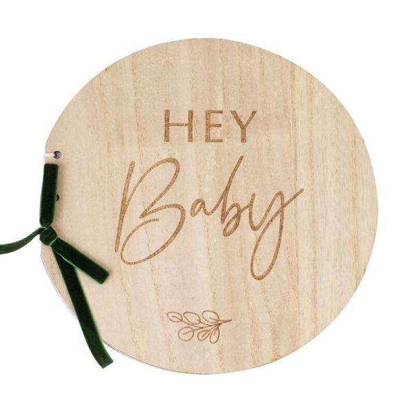 Round Wooden Baby Shower Guest Book