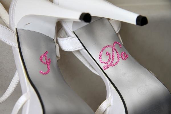 Hot Pink Rhinestone 'I Do' Shoe Stickers