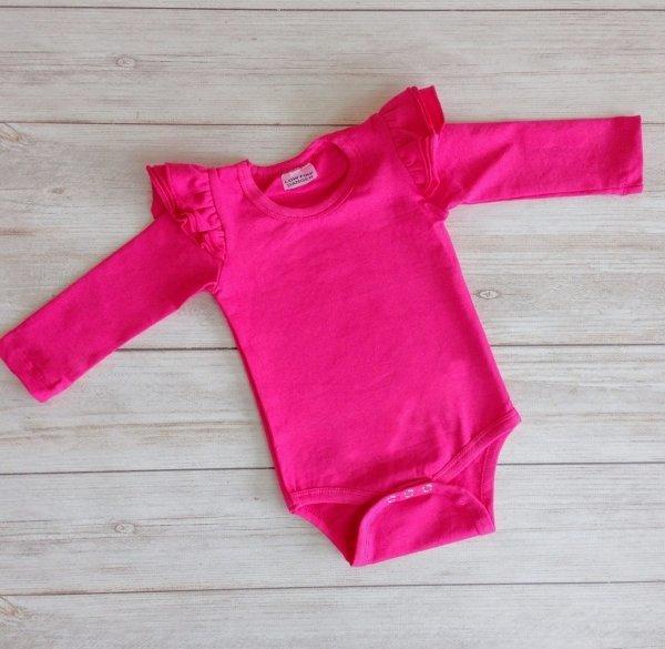Hot Pink Long Sleeve Flutter Onesie