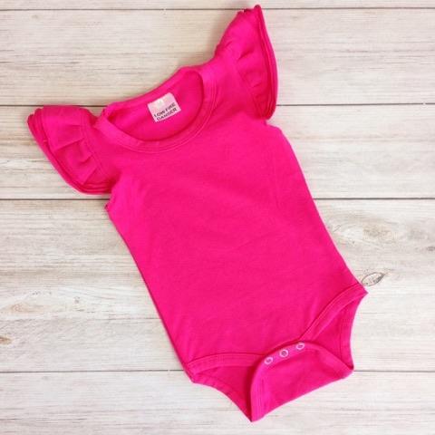 Hot Pink Short Sleeve Flutter Onesie