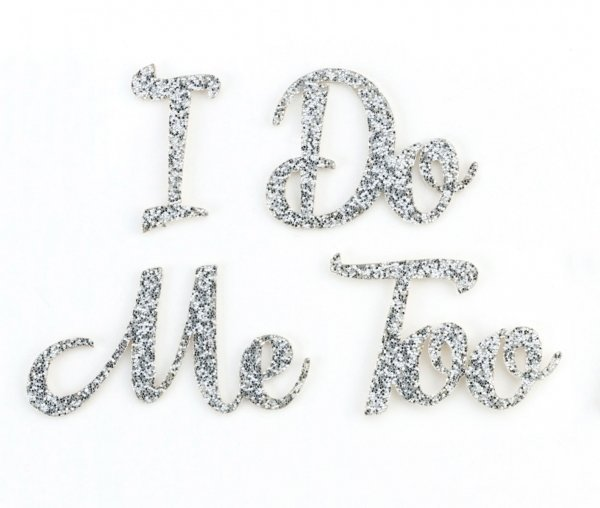 Silver Glitter I Do & Me Too Wedding Shoe Stickers