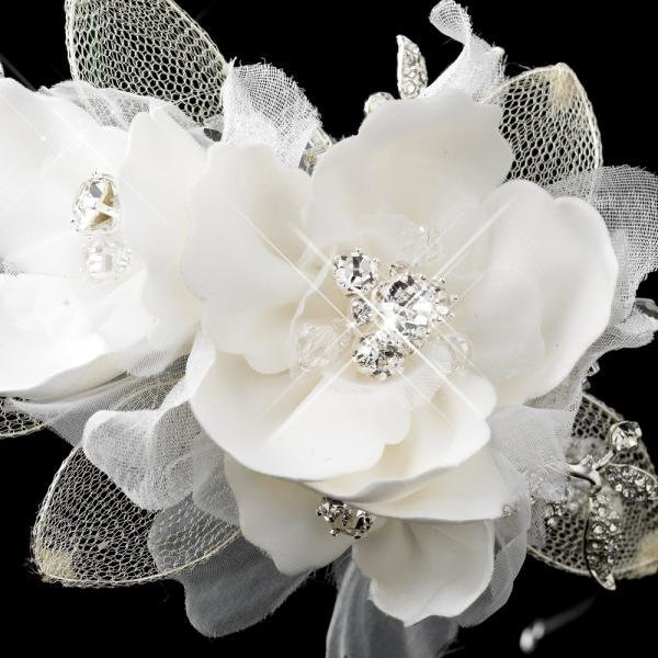Ivory Fabric Flower & Swarovski Crystal Headband